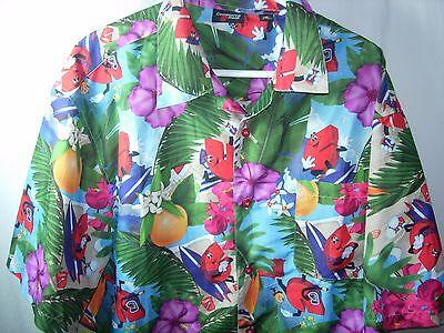 Mens Blue Fruit Commerce Bank Hawaiian Scuba Diving Surfer Shirt Size 2Xl 52