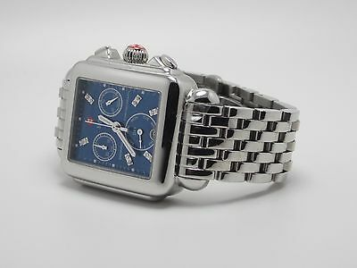 MICHELE DECO MW06P00A0956 WOMENS BLUE FACE STAINLESS STEEL WATCH
