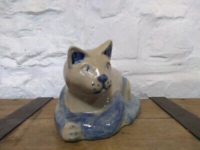 Beaumont Brothers Pottery, Cat Lying Down. American Stoneware. Blue Grey. Rare., used for sale  Shipping to Nigeria