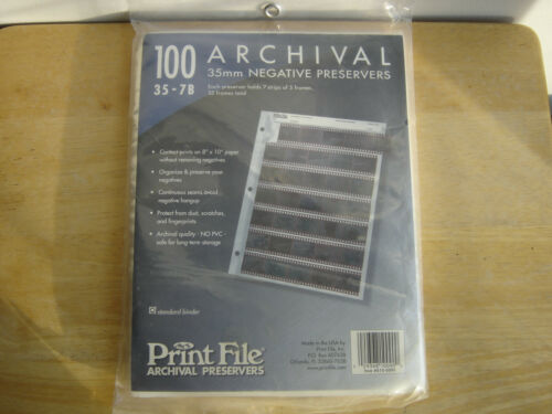 100-COUNT PRINT FILE NEGATIVE PRESERVERS ARCHIVAL 35-7B 35mm NEW 2 AVAILABLE