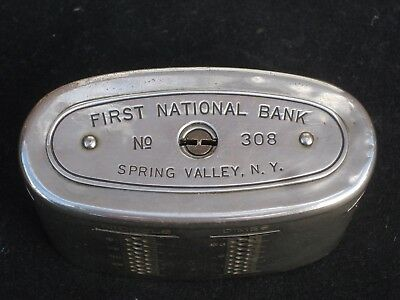 Spring Valley  Ny   5390  First National Bank   Vintage Chrome Still Bank W Key