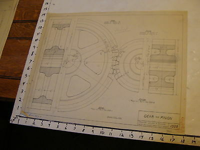 1940 vintage art Lucien a. Duhamel mechanical drawing: GEAR & PINION