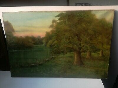 Oil on Canvas Paesaggio Countryside Nineteenth Century School English 60 x 40 CM