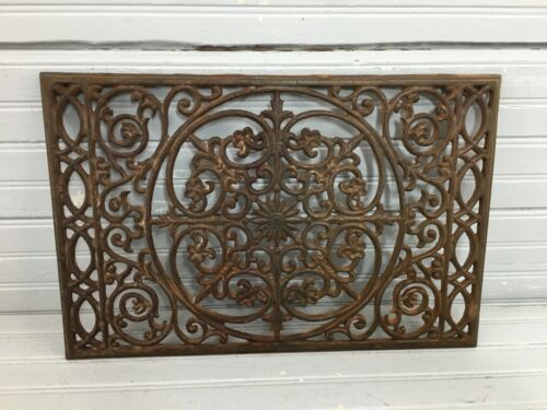 Vintage Cast Iron Trivet Ornate Wall Hanging Victorian Patina Architectural