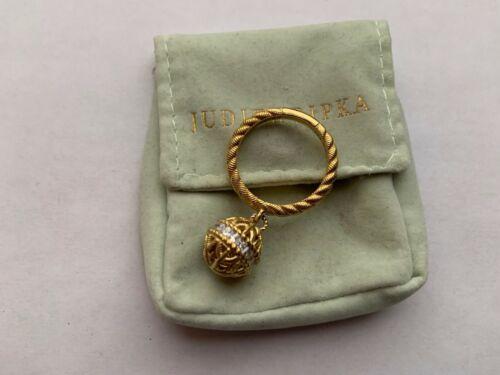 Judith Ripka Gold Clad Sterling Silver Diamonique Truffle Ball Charm Ring,Sz.9