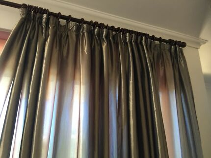 Curtains for large window, and large wooden curtain rod.