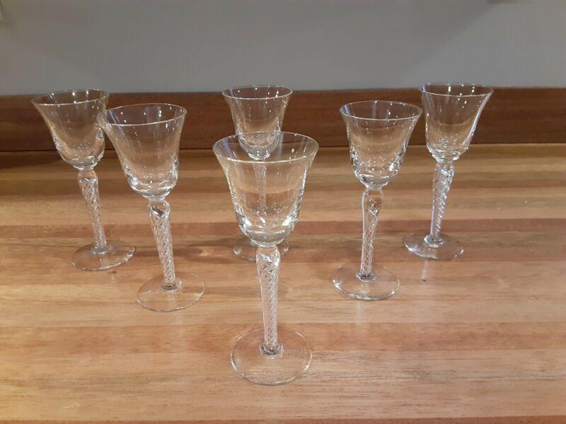 "BEAUTIFUL VTG AIR TWIST STEM 5 3/4"" TALL CORDIAL GLASSES. SET OF 6"