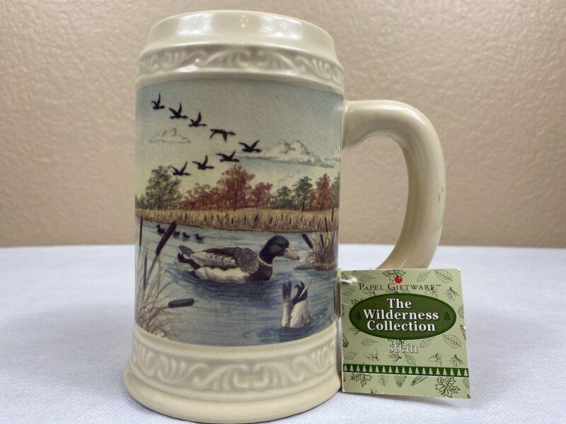 Vintage Wilderness Collection Beer Stein Ceramic Mug Mallard Duck Pond Marsh NEW