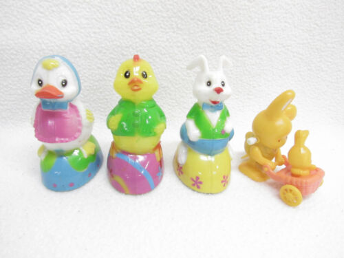 Vintage Easter Unlimited Rabbit Duck Chick Friction Wheeled Toys Wind Up