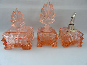 Vintage Art Deco Set Pompadour two Perfume bottle with Trinket box Real Crystal - <span itemprop='availableAtOrFrom'>European Union, Österreich</span> - Vintage Art Deco Set Pompadour two Perfume bottle with Trinket box Real Crystal - European Union, Österreich