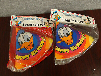 Donald Duck Birthday Party (New- Vintage Disney Donald Duck Birthday Party Hat 10 pcs)