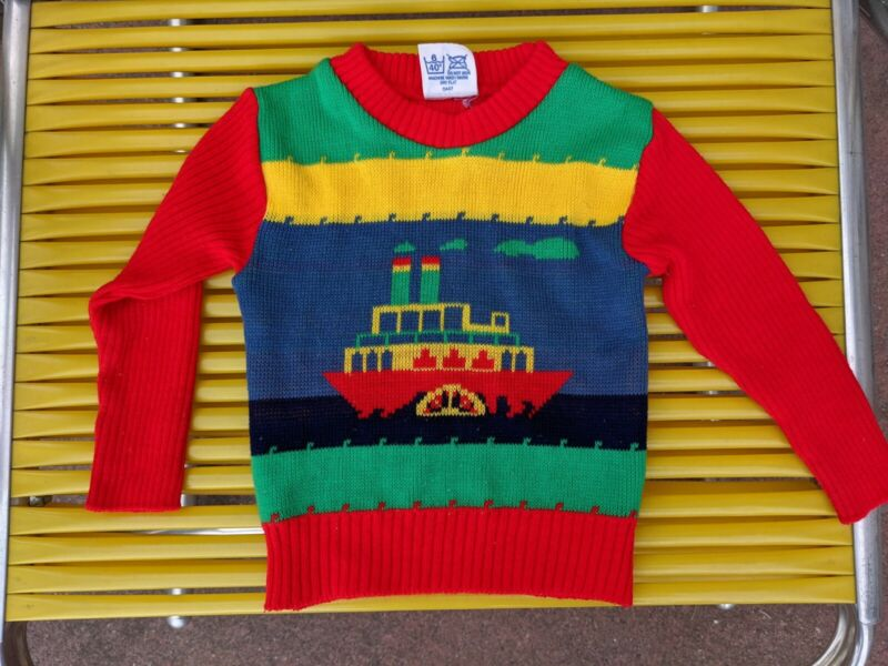 Vintage Rainbow Steamboat Knit Pullover Baby Sweater Size 18 24 Months