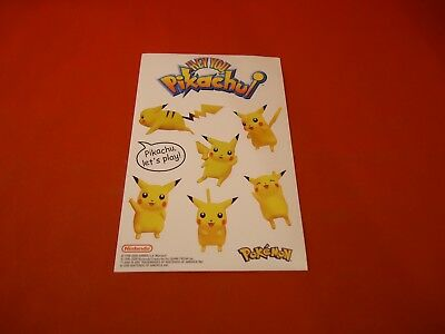 Hey You Pikachu Pokemon Nintendo 64 N64 Promotional Sticker Sheet -