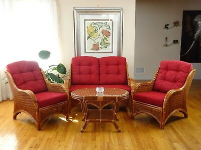 Living Set Jam of 2 Chairs Loveseat w/Burgundy Cushions and Coffee Table, Cognac Dining Room Set Loveseat