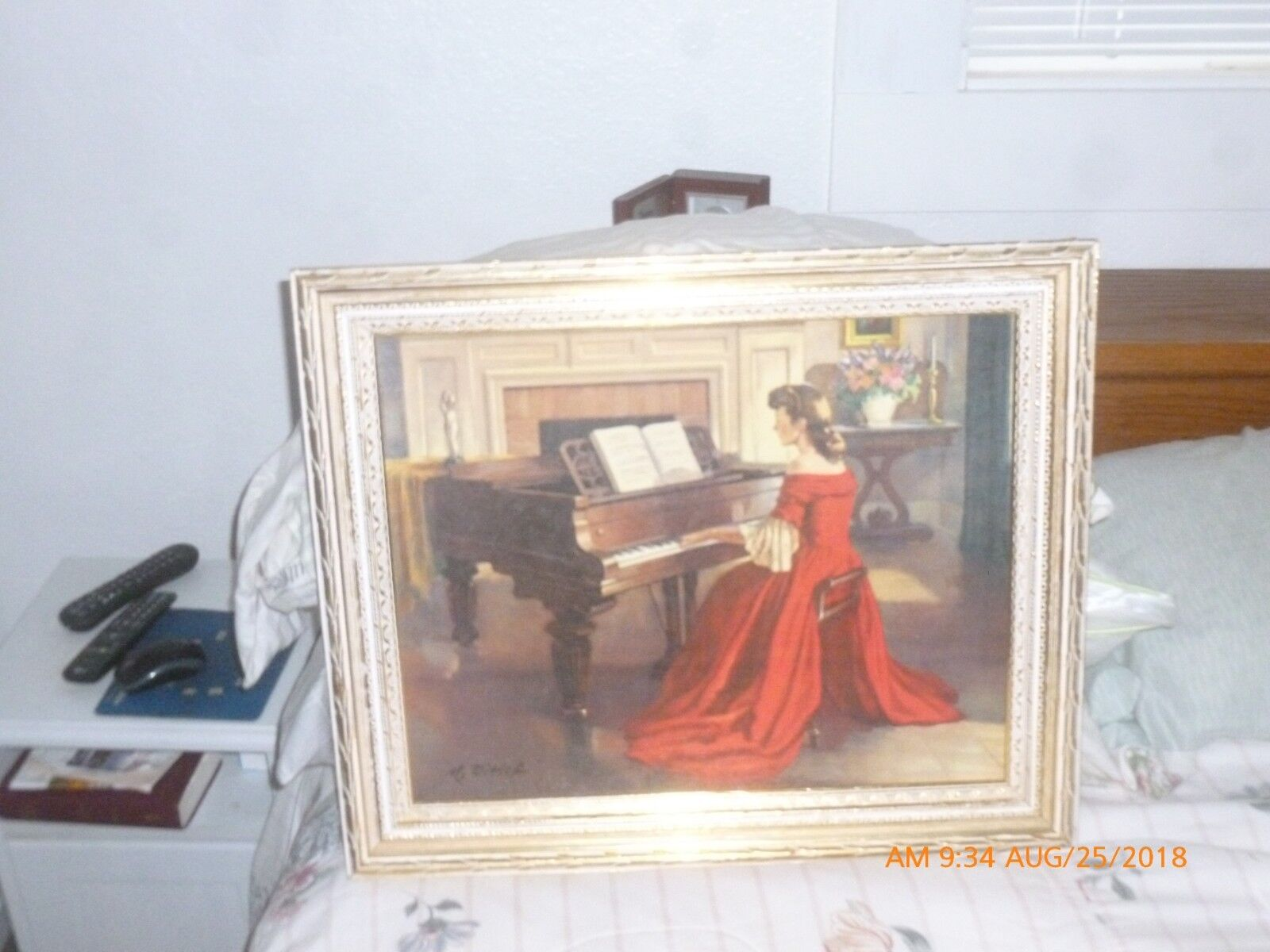 Vintage Painting Of Girl Playing Piano  - $120.00