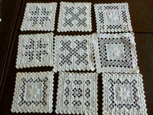 9 Lovely antique Hardanger Embroidered  Handmade Cream Coasters