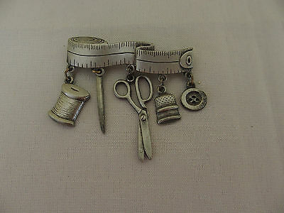 Jj Jonette Pewter Bar Brooch Pin Charms Sewing Notions Button Scissor