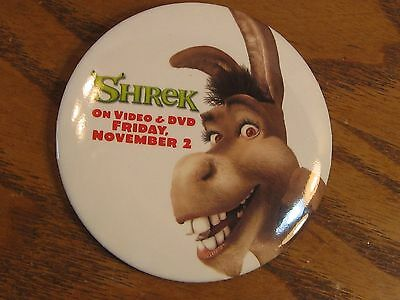 "Promotional 3"" Button Pinback Shrek on Video & DVD featuring Donkey - 2001"