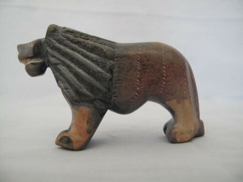 HAND CARVED SMALL MARBLE SCULPTURE OF A LION