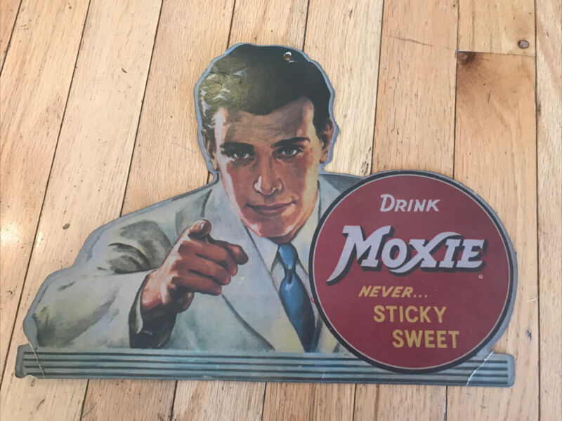 Vintage Drink Moxie Cardboard Advertising Sign
