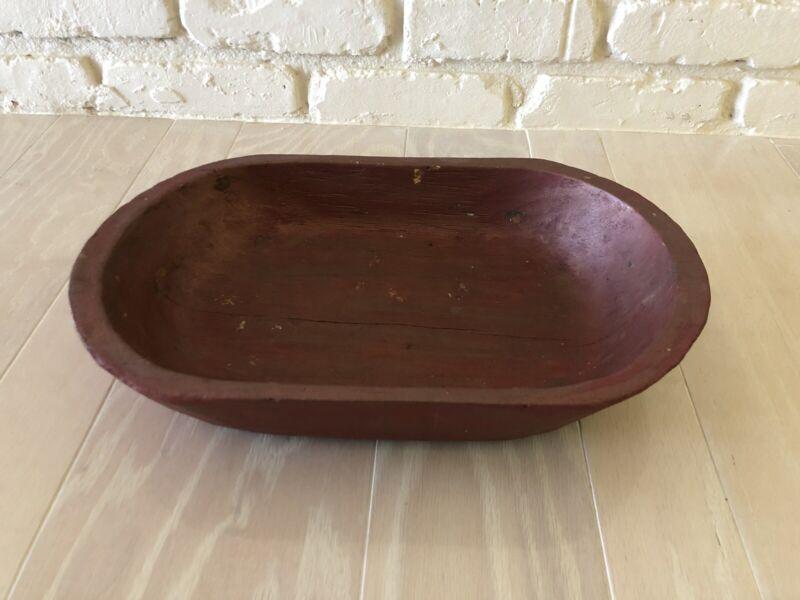 Primitive Wood Dough Bowl Rustic Wooden Trencher Oval Centerpiece Folk Art