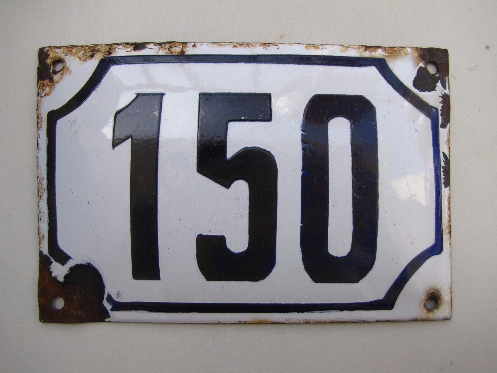 vintage PRE ISRAEL STATE  enamel porcelain sign  number 150   house  sign # 150