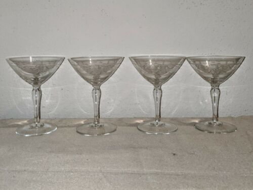 """4 set of Victorian hand blown Needle Etched Martini Glass approx 5.5""""H vintage"""