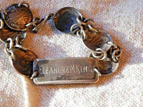 Old World War II WWII Silver Coin Trench Art Australian Sweetheart Bracelet