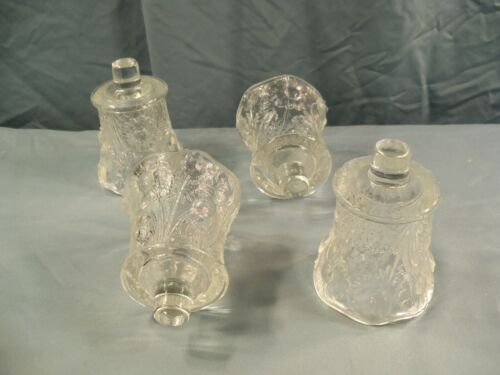 Lot of 4 Clear Glass Peg Pegged Votive Candle Holders w/ Floral Design