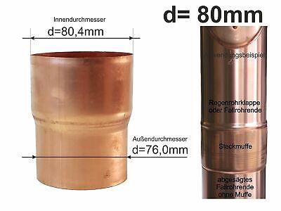 Kupfer Fallrohr mit Langmuffe DN 80 Länge 1,00 Meter