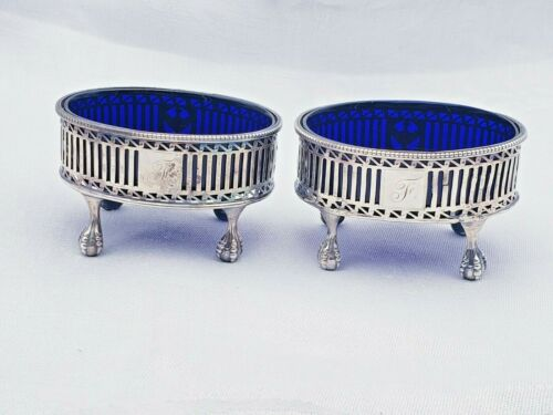Vintage Pair of Monogrammed Sterling Silver Master Salts with Cobalt Liners 9216