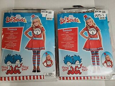 Toddler Twin Costumes (Cat In The Hat Toddler Costumes For Twins Things 1 & 2. 2 For Price Of 1,)