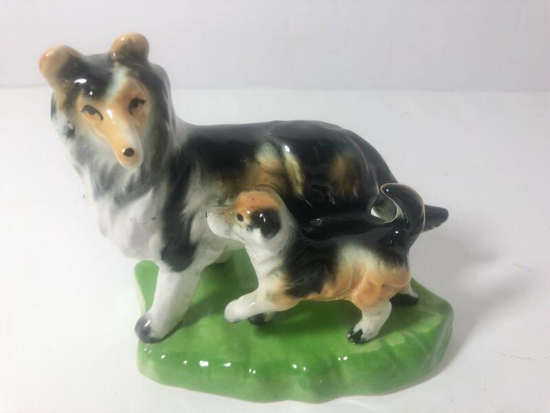 Vintage Porcelain Collie And Puppy Figurine Stamped Japan