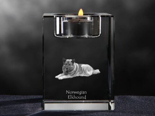 Norwegian Elkhound, crystal candlestick with dog, souvenir, Crystal Animals CA