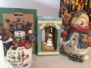 Christmas Cookie press, 2 snowman ornaments