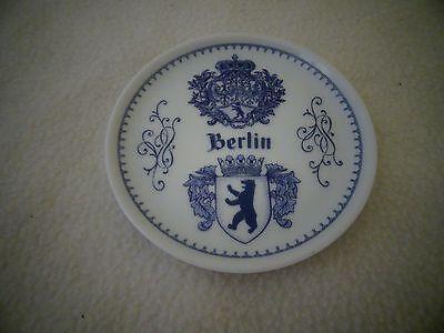 "VINTAGE ""BERLIN "" BLUE/WHITE 3 3/4"" PLATE-DR. MERKLE ATELIER-GERMANY-GES.GESCH."