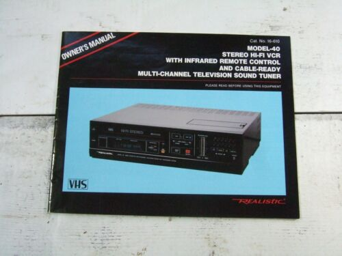 Vtg Realistic Model 40 Stereo Hi Fi VCR Infrared Remote Control Cable Owners Man