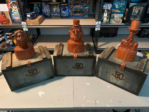Disney Haunted Mansion 50th Anniversary Hitchhiking Ghosts Wood Busts Set of 3