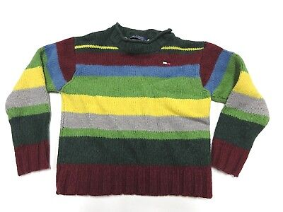 Vintage 90s Tommy Hilfiger Striped Polo Shirt Kids Size 14 Striped Long Sleeves