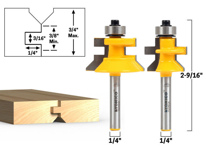 """2 Bit Tongue and Groove Flooring Router Bit Set - 1/4"""" Shank - Yonico 15229q"""