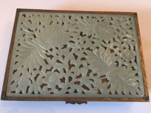Antique Chinese Jade & Brass Trinket Jewelry Box Openwork Carved Jade on Lid