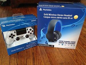 White PS4 controller and Gold Wireless Headset