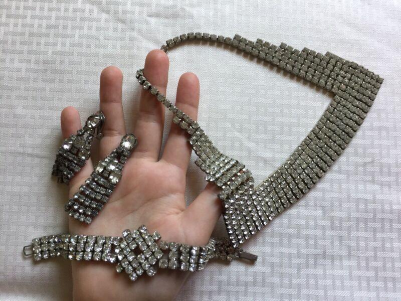 Rare Antique Gift~Victorian Rhinestone Necklace Bracelet Earrings Set~Free Ship