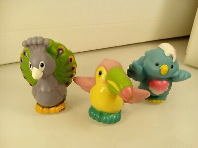 Fisher Price Little People Animals Zoo Lot of 3 Peacock Toucan Love Bird M #74