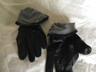 BUDD  men's black luxurious cape leather / gray silk lined gloves size 9