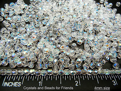 600 Preciosa Czech Glass Round Faceted Fire Polished Beads 4mm Crystal AB, loose