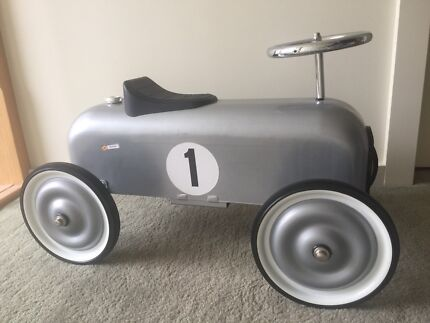 Classic Silver Metal Ride-On Car