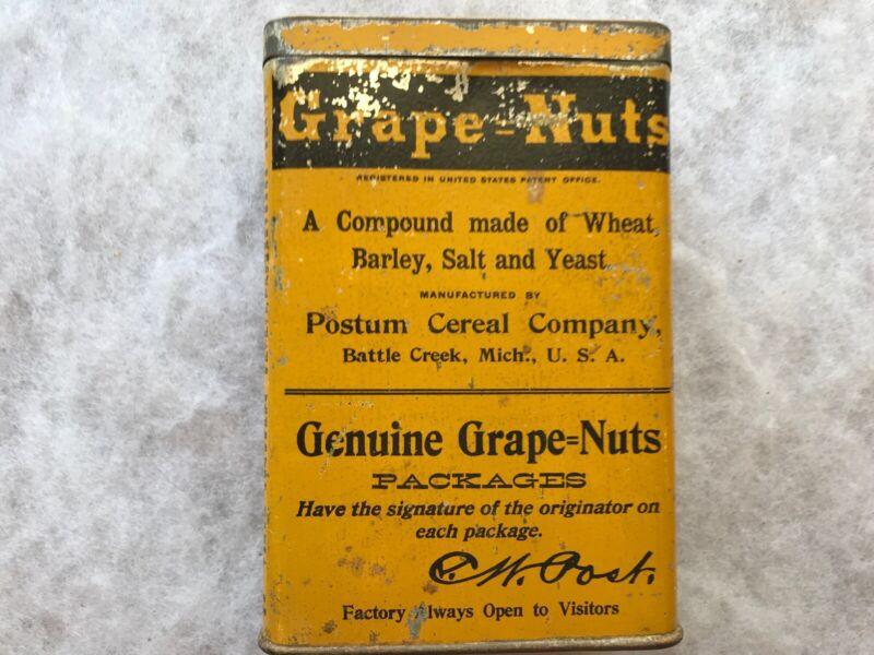 Grape -Nuts 1920's Vintage Tin, Postum Cereal Co., Battle Creek, Michigan
