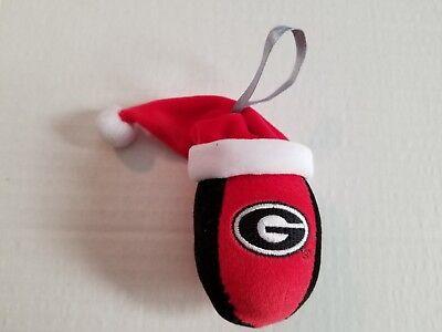 Georgia Bulldogs Soft Plush Ornament Football with Santa Hat Christmas -
