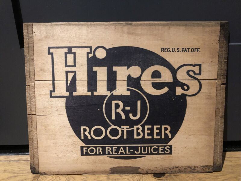 ANTIQUE HIRES ROOT BEER SODA BOTTLE Vintage SIGN WOOD BOX CRATE Original